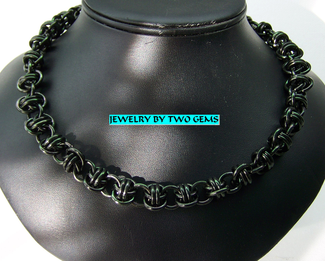 Jewelry By Two Gems  (C63) Aluminum Black Barrel Chainmaille Necklace