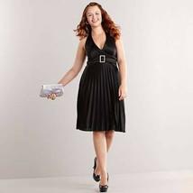 Speechless Black Satin Pleated Fit-&-Flare Halter Cocktail Dress Formal ... - $29.95