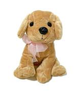 "Chrisha Playful Plush Golden Retriever Puppy Dog 9"" Pink Bow Sitting Val... - $13.10"