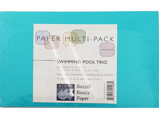 Bazzill Basics Paper Multi-Pack Swimming Pool Trio, 15 Sheets