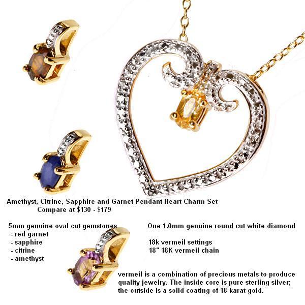 Amethyst citrine sapphire and garnet pendant heart charm set