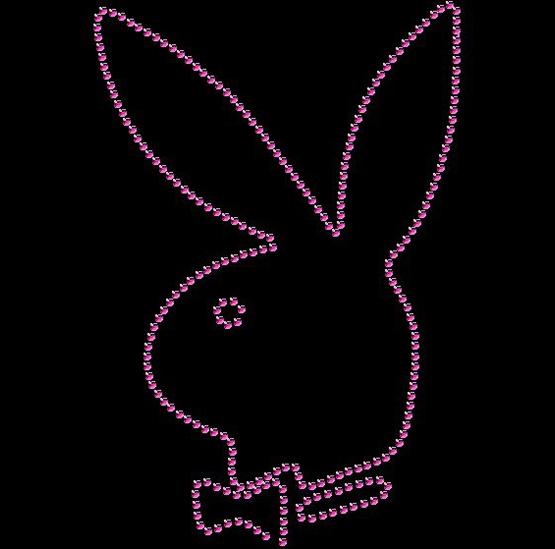 Closed Playboy Bunny  ~ Rhinestone Crystal Sparkle Womens Tee Custom Color/Size