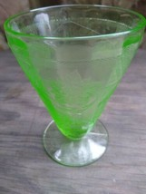 "Jeannette Depression Glass FLORAL POINSETTIA GREEN 4"" Footed Tumbler  - $9.99"