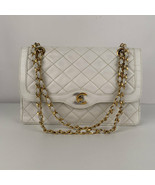 Authentic Chanel Vintage White Quilted Leather Limited Edition Double Fl... - $1,861.20