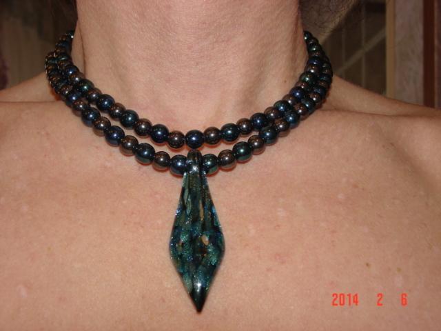 Stunning Art Glass Pendant on Beautiful Hematite and Druk Glass Necklace