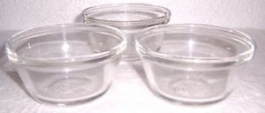 Anchor Hocking (3) Clear Glass Collectible Custard Bowls 6 oz