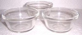 Anchor Hocking (3) Clear Glass Collectible Custard Bowls 6 oz - $12.99