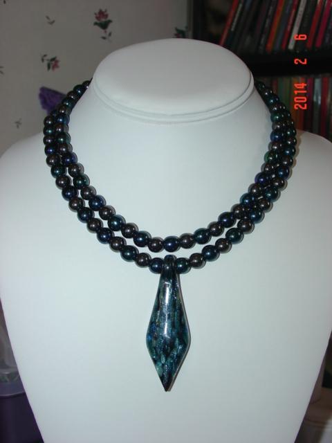 Stunning Art Glass Pendant on Beautiful Hematite and Druk Glass Necklace  image 2