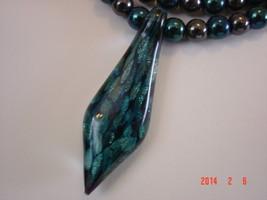 Stunning Art Glass Pendant on Beautiful Hematite and Druk Glass Necklace  image 3
