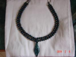 Stunning Art Glass Pendant on Beautiful Hematite and Druk Glass Necklace  image 5