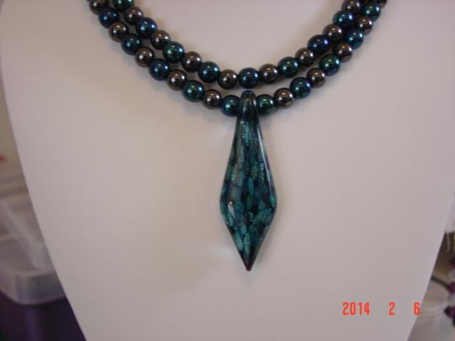 Stunning Art Glass Pendant on Beautiful Hematite and Druk Glass Necklace  image 6