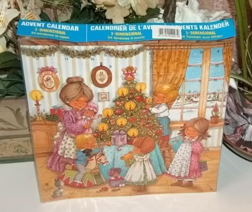 Vintage 3D Christmas Advent Calendar Family Around Tree