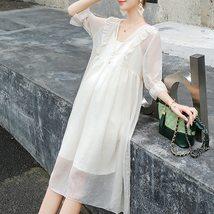 2Pcs Maternity Dress Set Fashion Solid Color V Neck Loose Casual Dresses Suit image 3