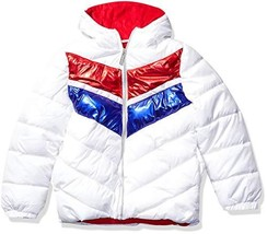 Limited Too Girls' Big Striped FOIL Colorblock Puffer, White, 10/12 - $30.75