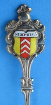 Vintage Souvenir Spoon Neuchatel Switzerland Vintage Enamel Shield 1950s - $10.00