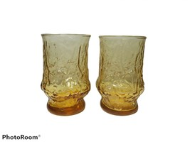 "2 Amber Anchor Hocking Rain Flower 4"" Juice Glasses Tumblers Daisy Flowers - $24.74"