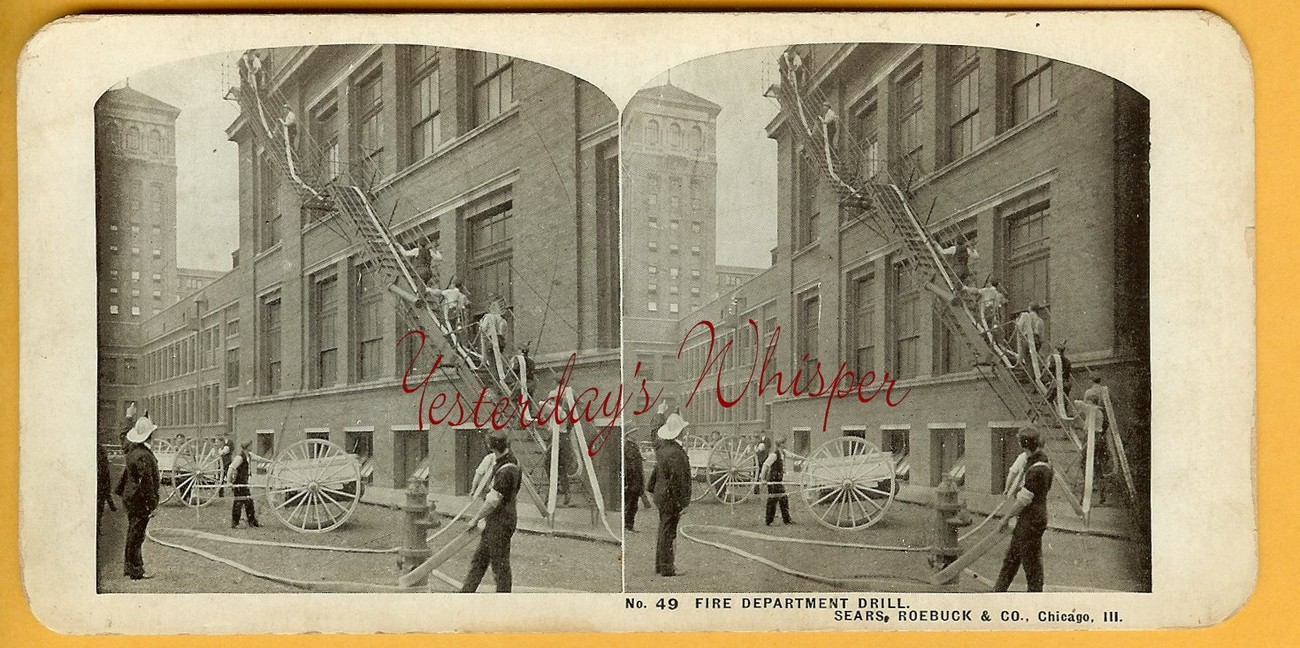 Chicago IL SEARS Roebuck CO Bldg FIRE Drill STEREOVIEW