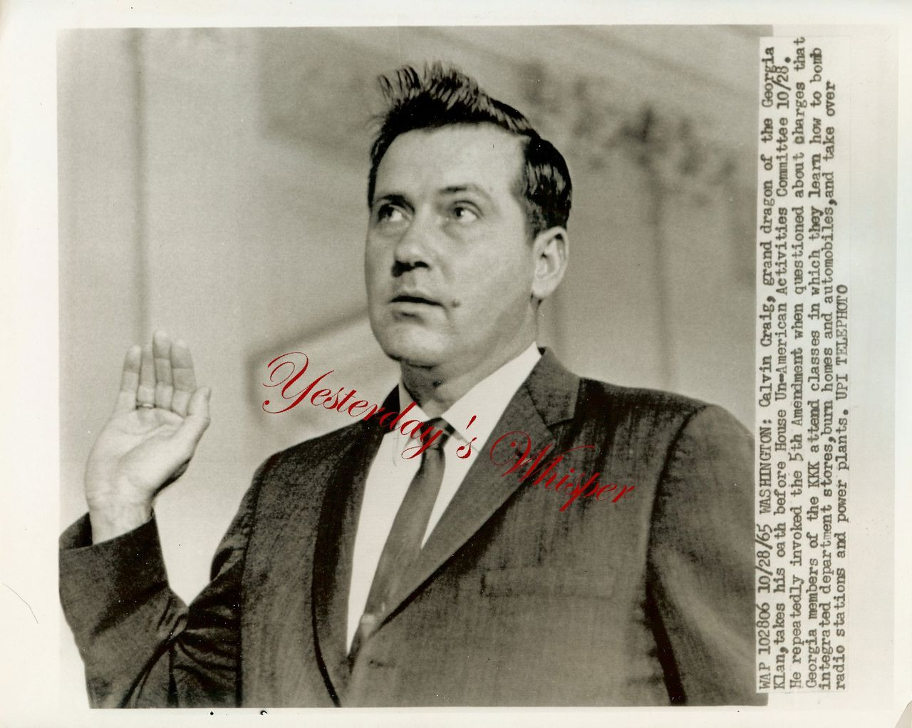 UN-American Calvin Craig KKK Grand Dragon Vintage Photo