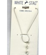 "18"" White Stag Necklace With a 3 tier Cubic Zir... - $12.99"