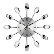 Novelty stainless steel spoon and fork battery powered wall clock