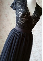BLACK Long Maxi Tulle Skirt High Waisted Black Tulle Skirt Wedding Skirt image 8