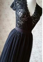 BLACK Long Maxi Tulle Skirt High Waisted Black Tulle Skirt Plus Size Black Skirt image 10