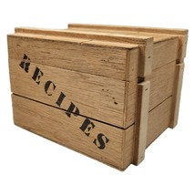 Vintage Fitz And Floyd Wooded Wood Crate Recipe Card Box - $38.50