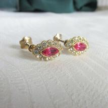 Vintage Dainty Demure Pink Rhinestone Marquis w/Clear Stones Earrings Sc... - $11.70
