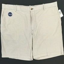 Izod Newport Oxford Shorts Size 42 Beige Khaki Flat Front Stretch Regula... - $27.71