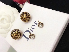 Authentic Christian Dior 2019 CRYSTAL STAR BEADS Double Pearl Tribales Earrings image 3