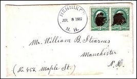 1882 Henniker NH Vintage Post Office Postal Cover - $9.95