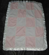 Just Born Pink White Patchwork Quilt Patch Minky Dot Satin Ruffle Baby Blanket - $44.54