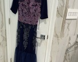 Reem Acra Beaded Floral Sequin Mesh Long Sleeve Maxi Gown Dress 6 Vtg Tailored - £53.75 GBP