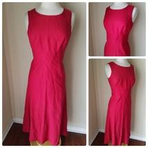 Talbots Women's Dress Red Sleeveless Maxi Empire Waist Linen Blend Petite 8 - $46.86