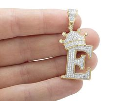 """14K Yellow Gold 925 Silver Tilted Crown Initial Letter """"E"""" White Diamond Pendant - $146.99"""