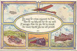I am Away For A Time An Ode To Travel 1914 Post Card - $5.00