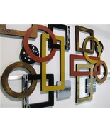 2pc Geometric Abstract Wood and Metal Wall Sculpture Hangings, contemporary - $247.49