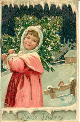 a Merry Christmas , 1909 German post card