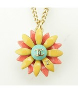 CHANEL Pendant Necklace Flower motif CC floral Pearl 17C RE44 - $592.02