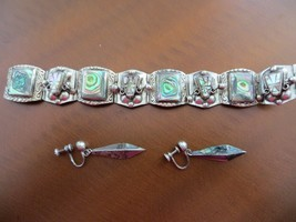 1940s. Sterling Mexico Abalone Shell Mask Face inlay bracelet/Earrings - $129.99