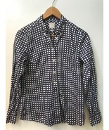 GAP Womens Navy Blue White Geometric Print 100% Cotton THE TAILORED SHIR... - $14.95
