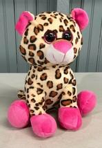 "Hug Luv Plush Leopard 9"" Pink Paws Stuffed Animal  - $11.82"