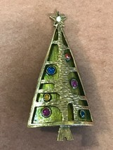 Vintage Unique Green Enamel w Hammered Goldtone Overlay & Colorful Rhine... - $38.19