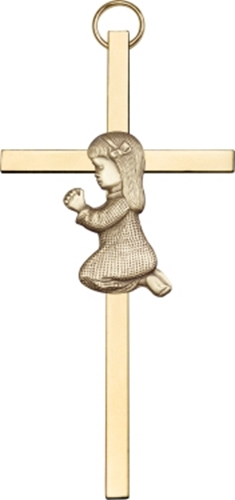 Praying Girl - Wall Cross - Antique Gold Plated and Polished Brass Plated - $40.99
