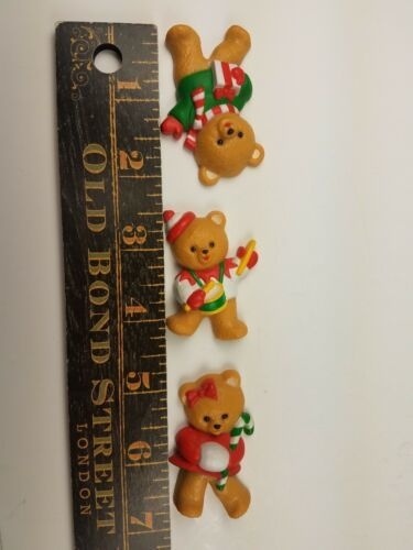 Vintage Hallmark Christmas Magnet Set of 3 Bears Drumming Candy Cane Presents image 3