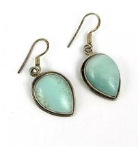 Vintage 925 Larimar Sterling Silver Earrings Teardrop Shaped Light Blue ... - $35.77