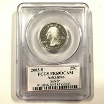 2003 S Silver 25C Arkansas PCGS PR69DCAM State Quarter USA - $18.70