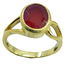 attractive Red Onyx Gold Plated Red Ring Natural jaipur US gift - $17.99