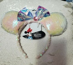 Disney Minnie Mouse Ears White Iridescent Sequin/bow - $18.80