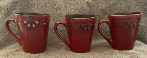 Primary image for American Atelier at Home marquee Red Mugs Cups Stoneware Set of 3